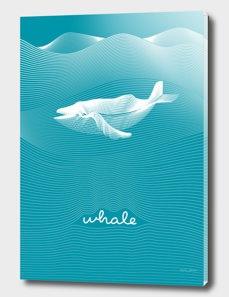 Op art vector moire whale with waving curling lines