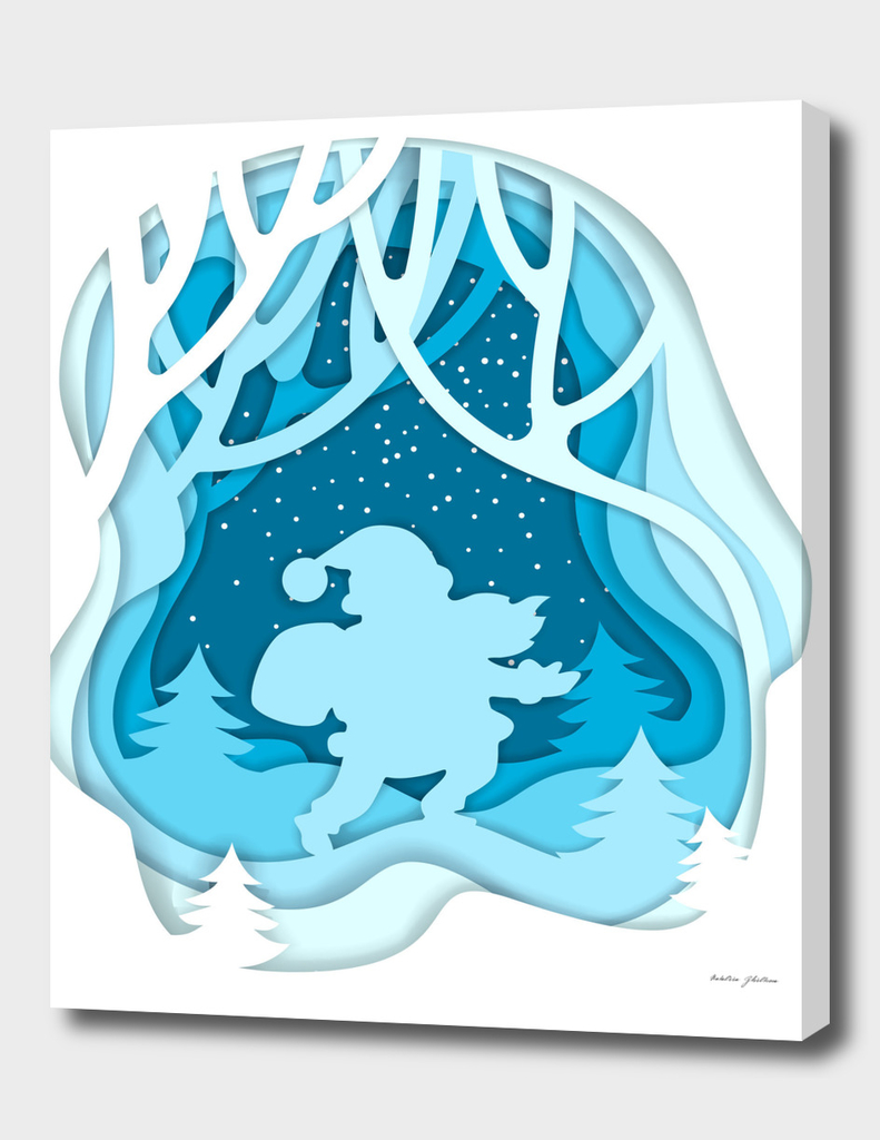 Silhouette of Santa Claus on winter forest background.