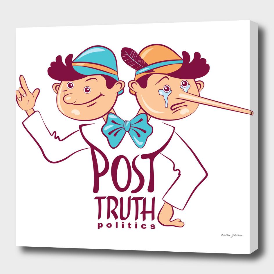 Cartoon illustration of Post-truth politics.