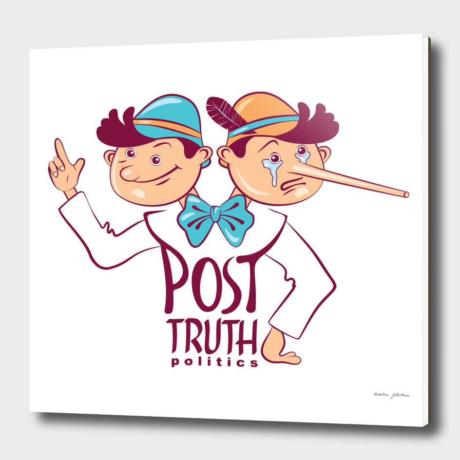 Cartoon illustration of Post-truth politics.