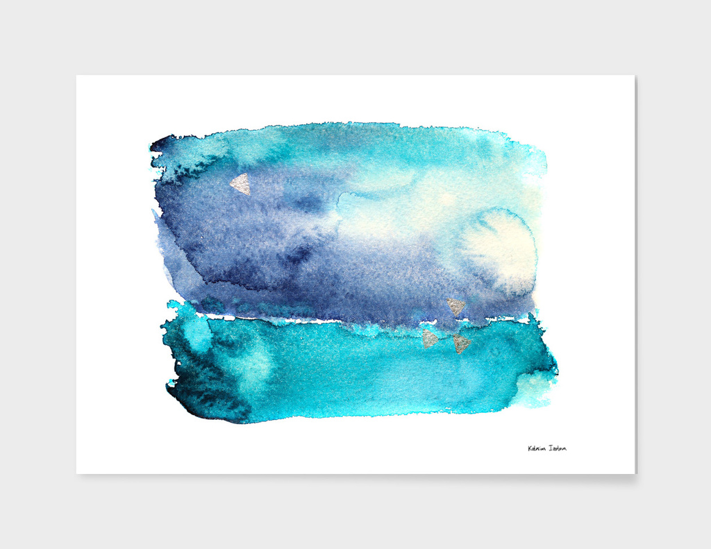 Vibrant ocean    watercolor