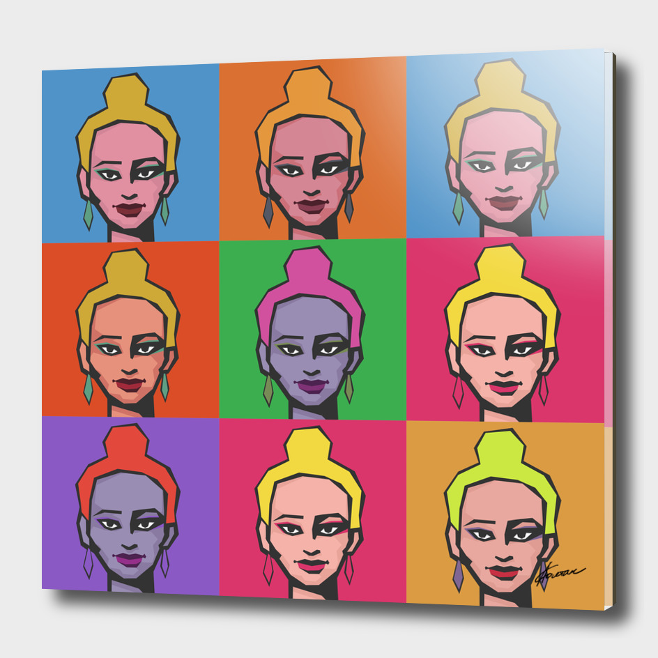 Girl with a bun. Pop art  illustration.