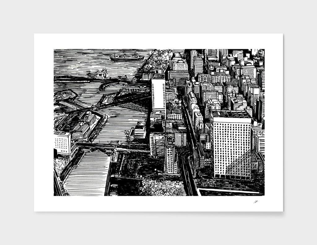bird's-eye city