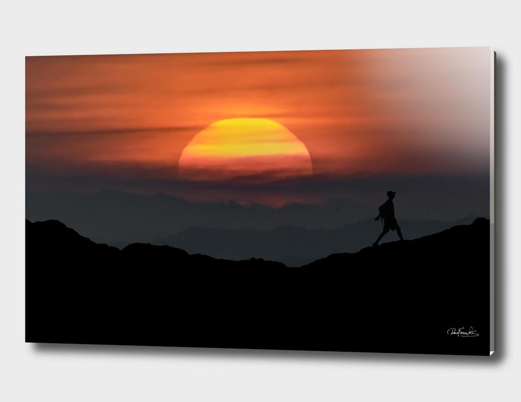 Man Walking at Mountains Landscape Illustration