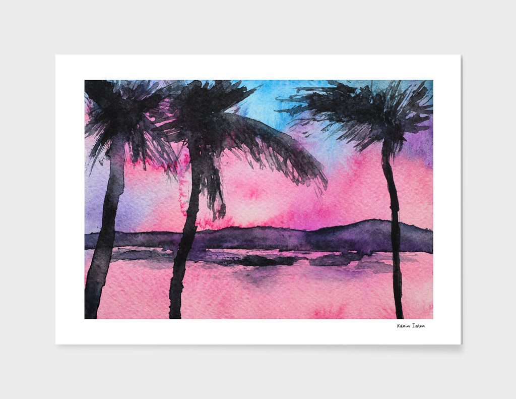 Tropical sunset || watercolor