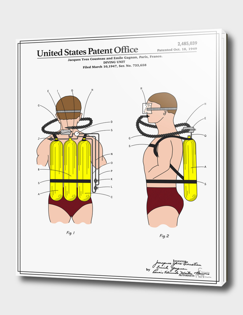 Jacques Cousteau Diving Unit Patent