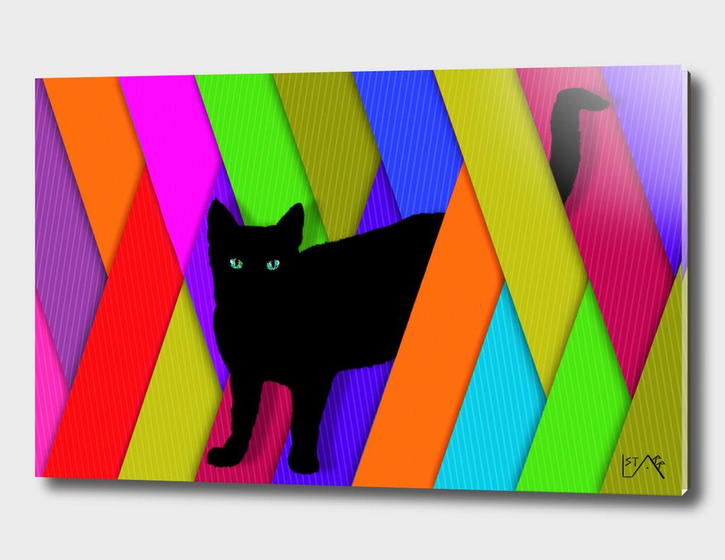 BLACK CAT COLORFUL STRIPES