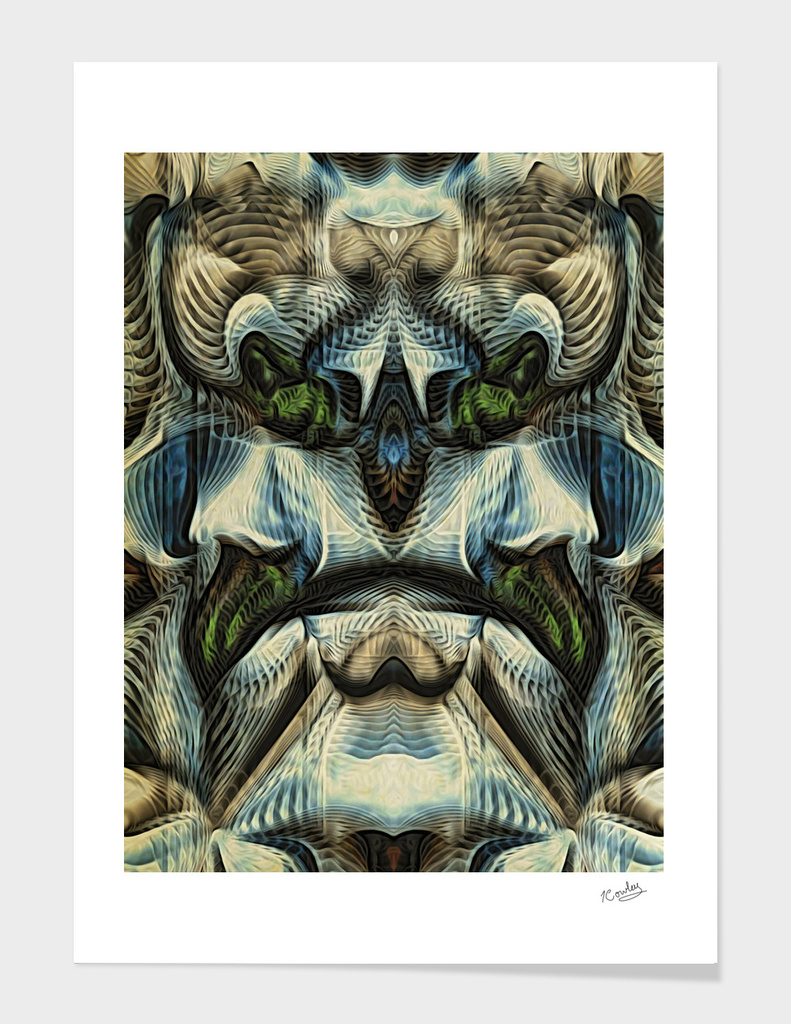 Masks Of Light: The Lion Abstract Animal Face Portrait