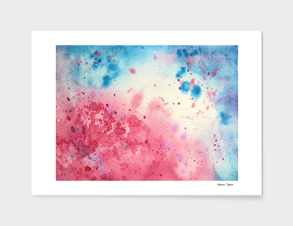 When pink meets blue || watercolor
