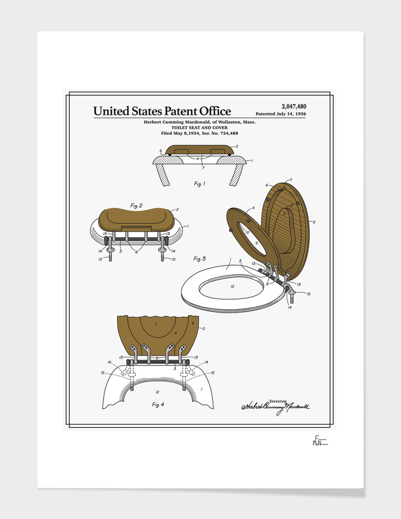 Toilet Seat and Cover Patent