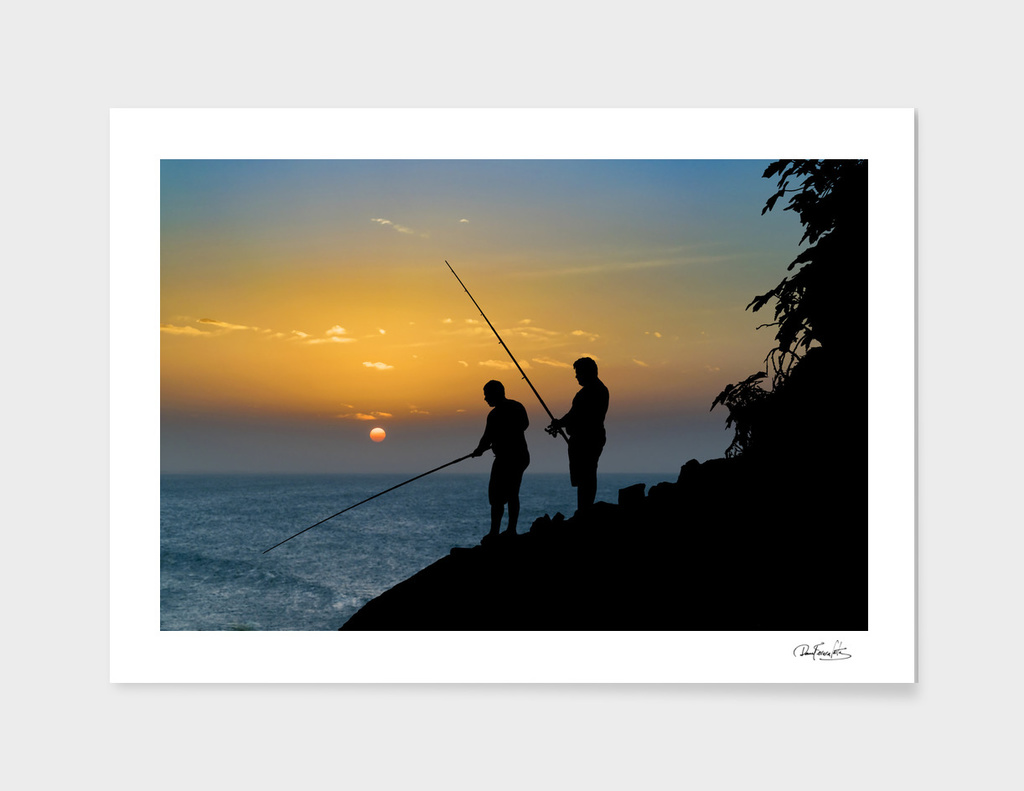 Two Men Fishing at Shore