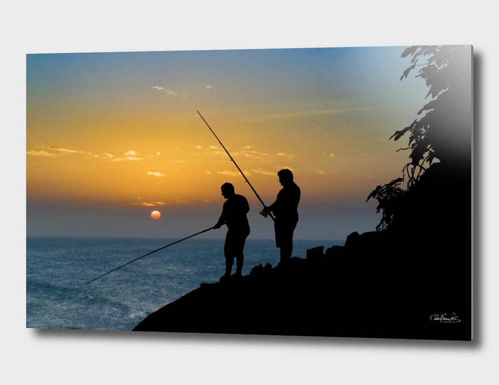 Two Men Fishing at Shore