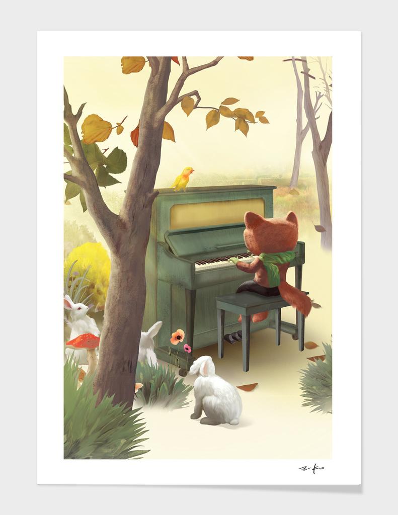 Fox Playing Piano