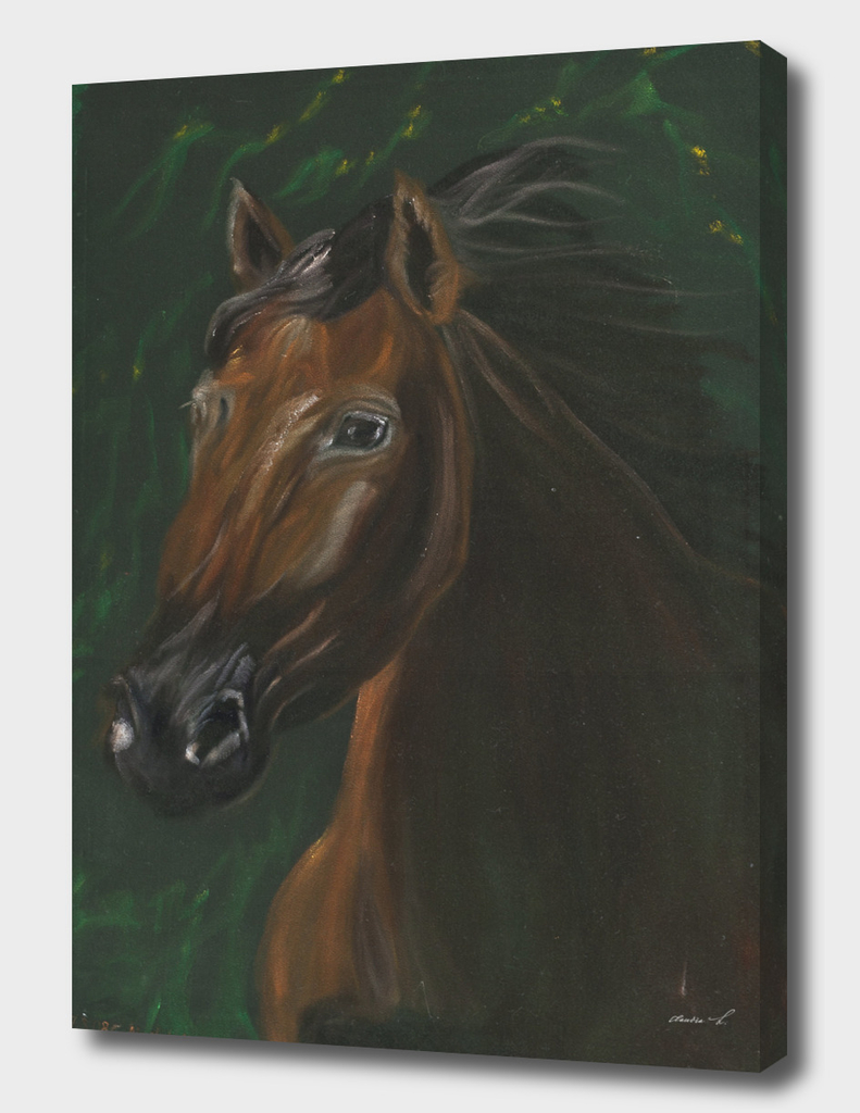 Brown horse on green velvet