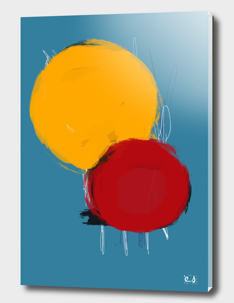 Yellow Red and Blue abstract composition