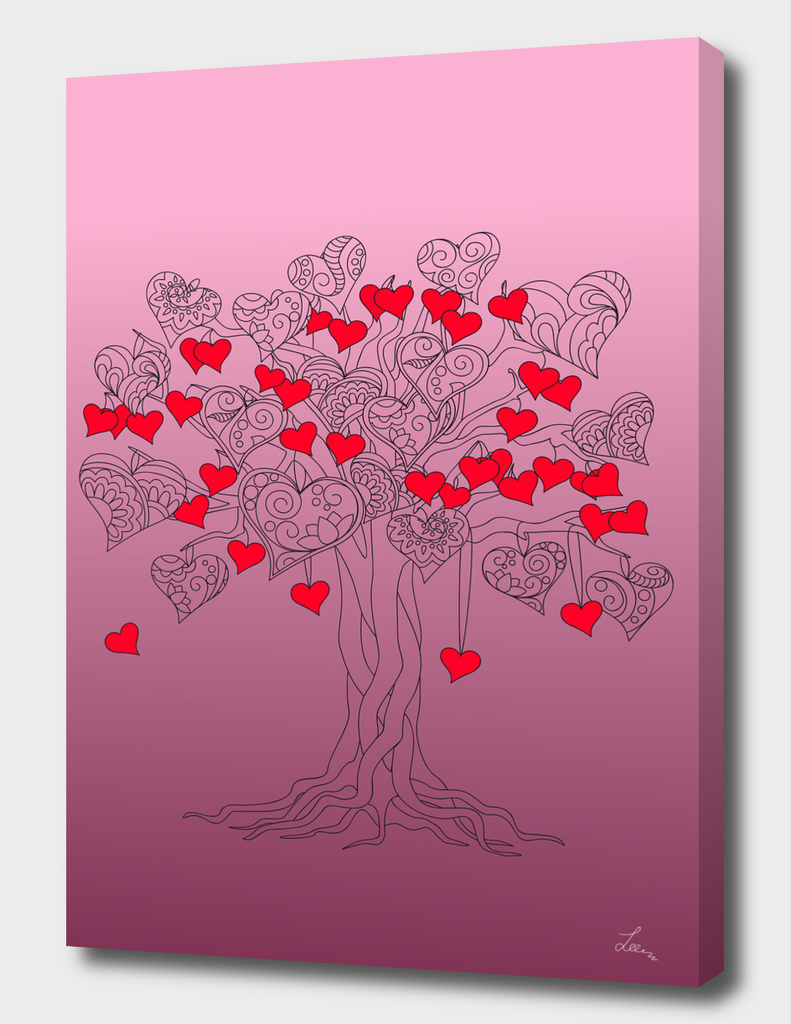 tree of love with hearts