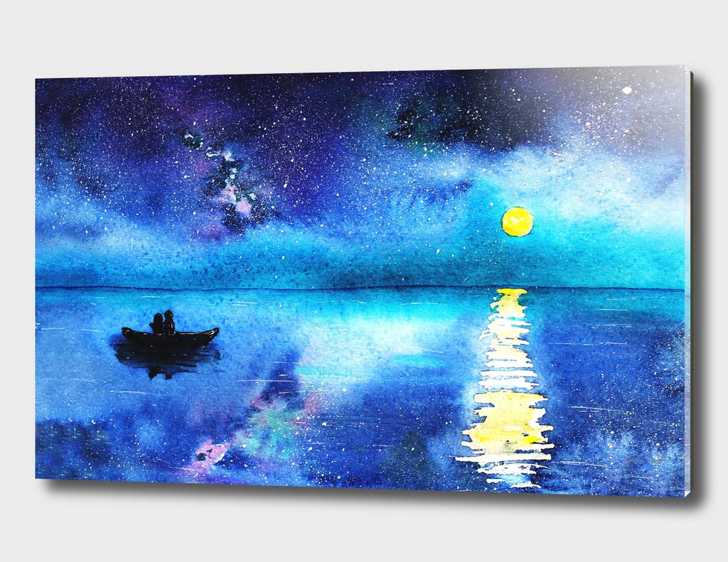 Under the moonlight || watercolor