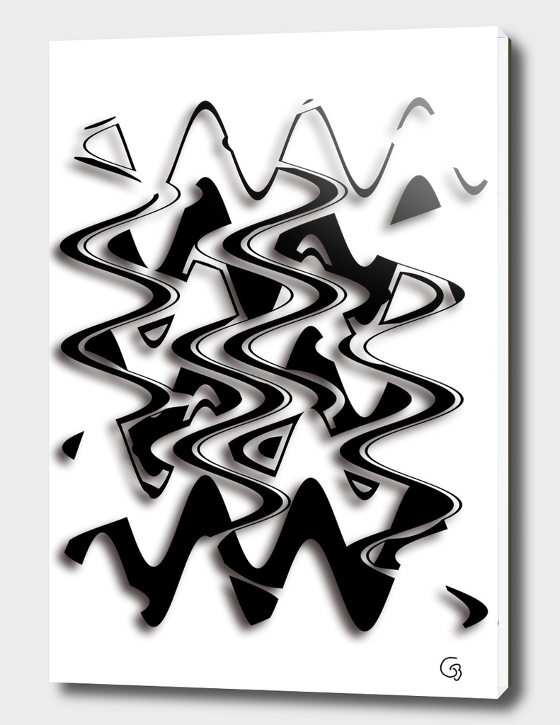 Abstract in black 3 D