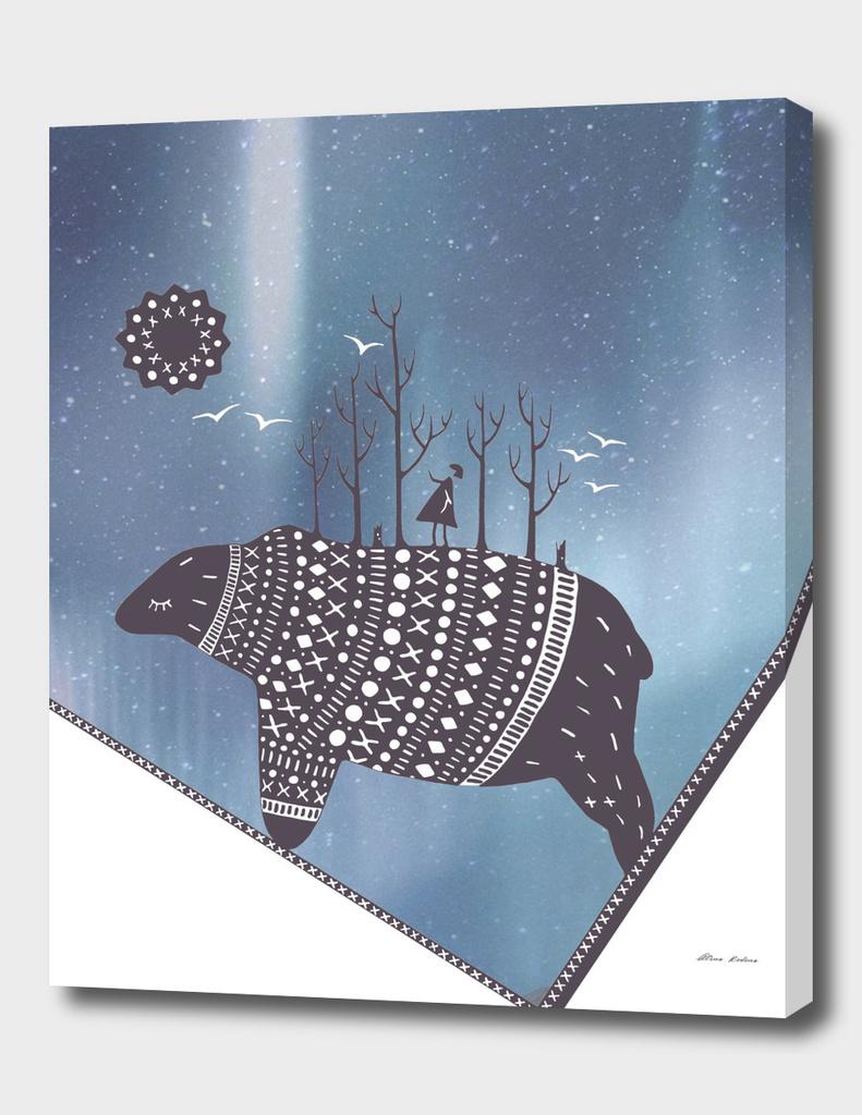 Northern bear with blue polar lights