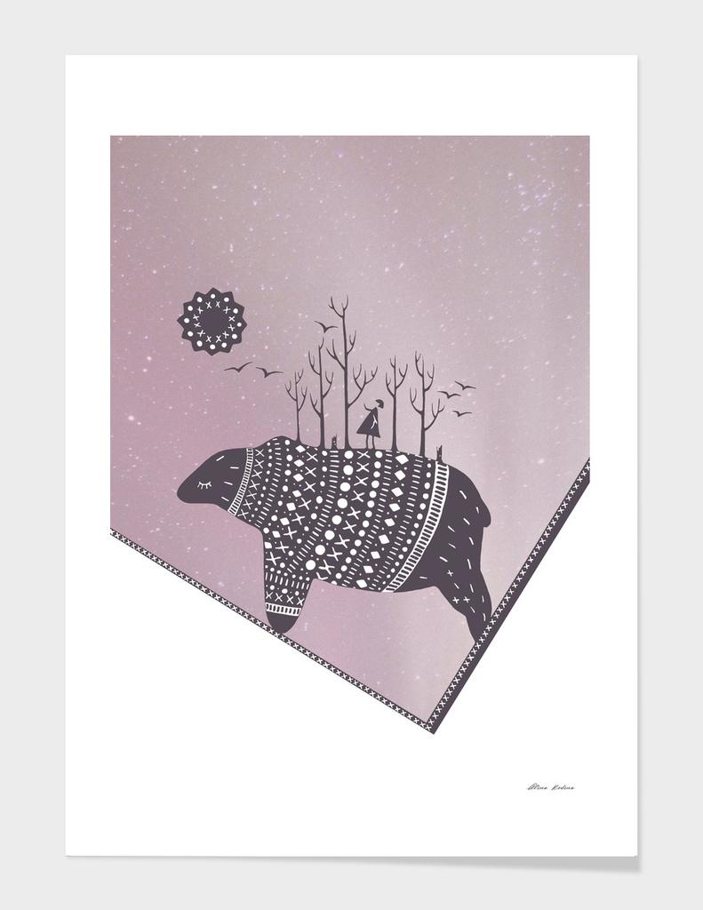 Northern bear with pink polar lights