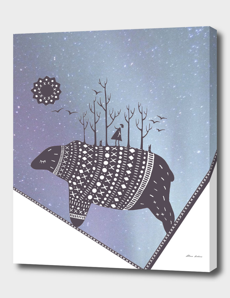Northern bear with purple polar lights