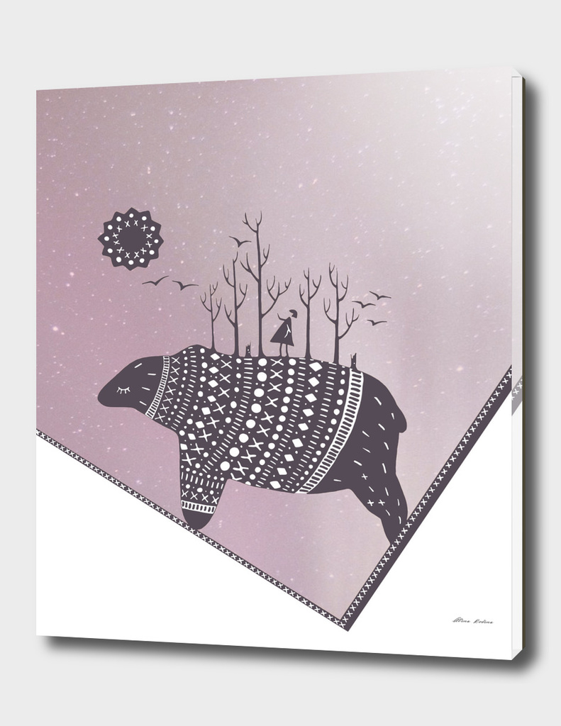 Northern bear with pink polar lights