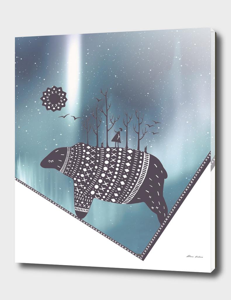 Northern bear with dark blue polar lights