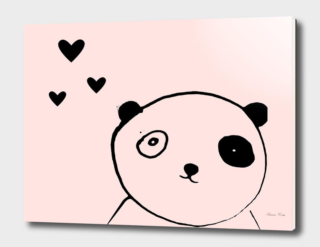 panda in love pink