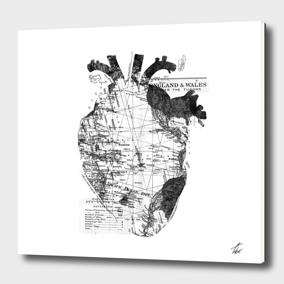 Heart Wanderlust Black and White