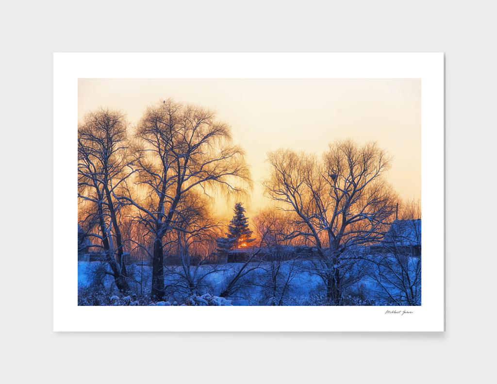Winter. Village. Evening.