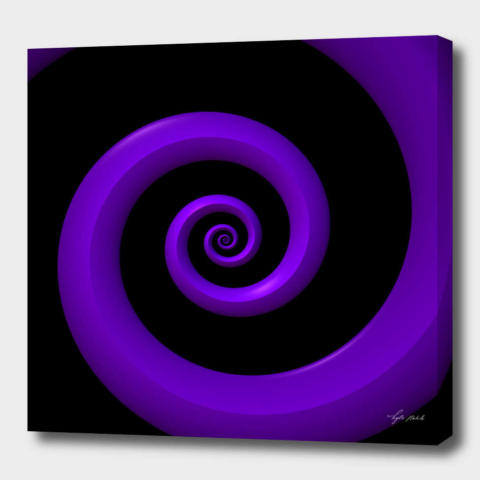 Purple 3-D Spiral on Black