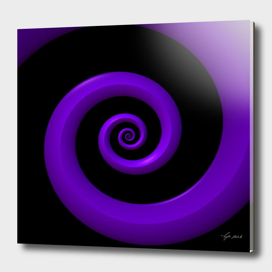 Purple 3-D Spiral on Black