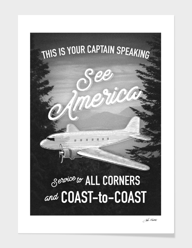 See America Flight Travel Poster