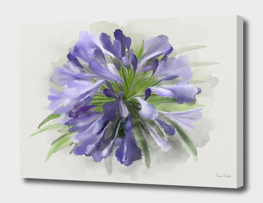 Blue Flower,  Watercolor