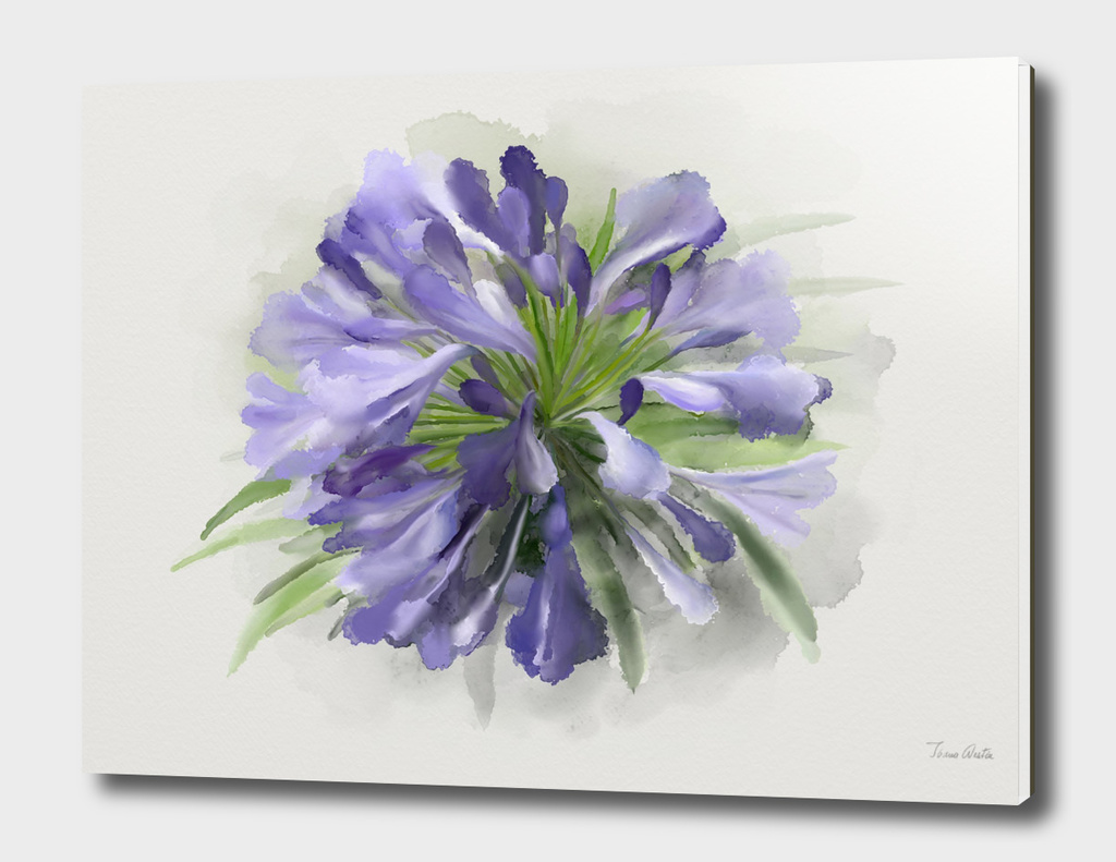 Blue Flower,  Watercolor
