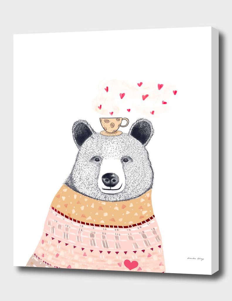 Bear lover of coffee