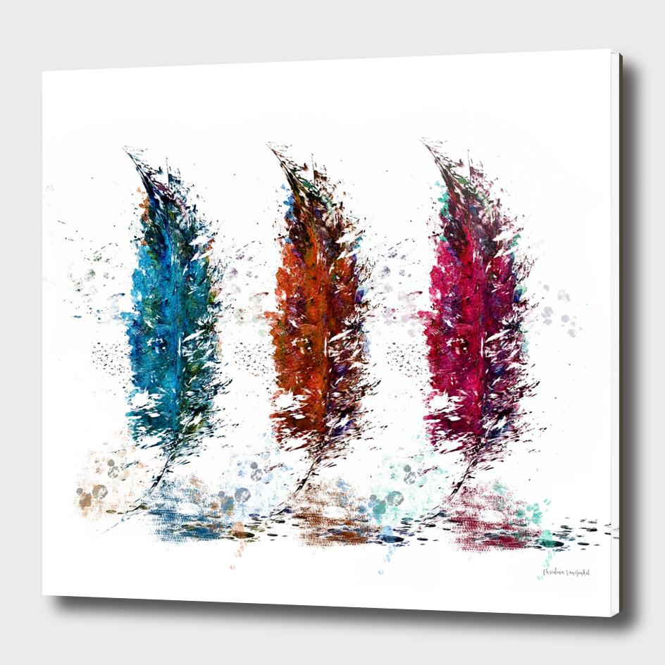 Watercolor Feather Trio