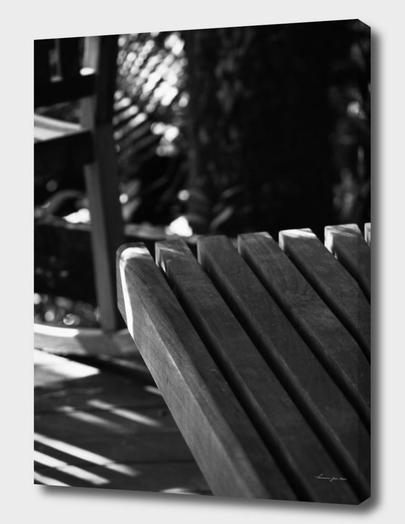Wooden Bench + Shadows in Black & White