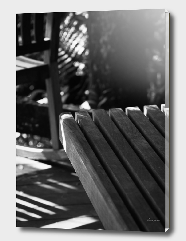 Wooden Bench + Shadows in Black & White