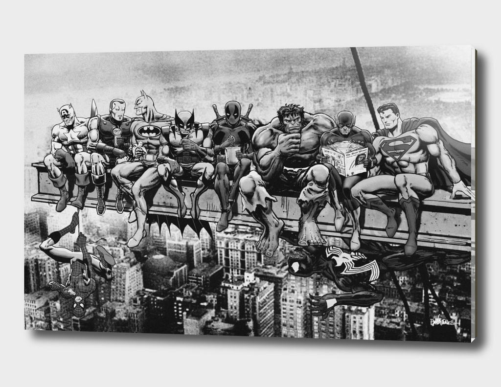 Marvel & DC Superheroes Lunch Atop A Skyscraper -B/W Edition