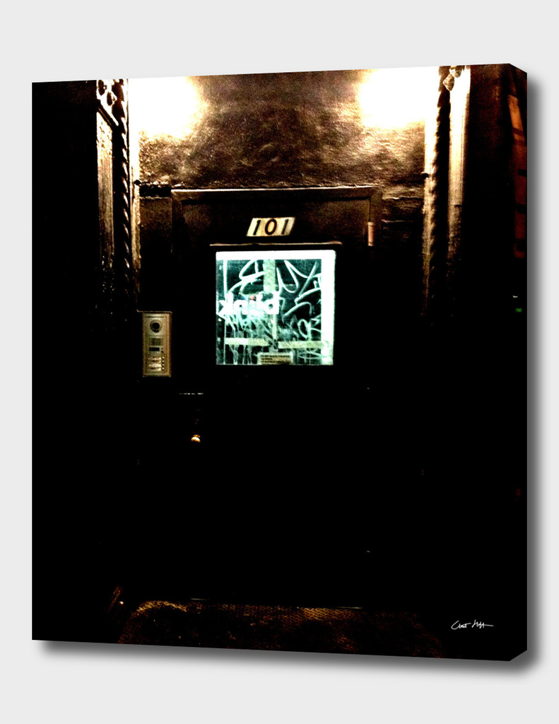 Doorway, East Village, at Night