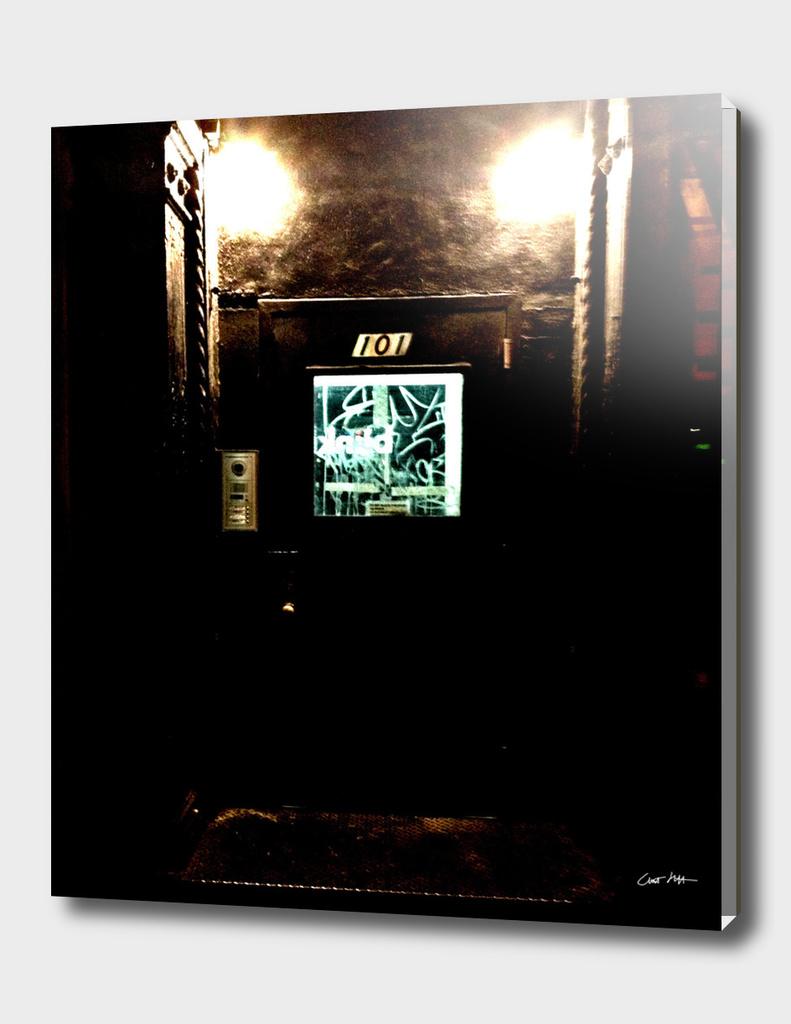 Doorway, East Village, at Night