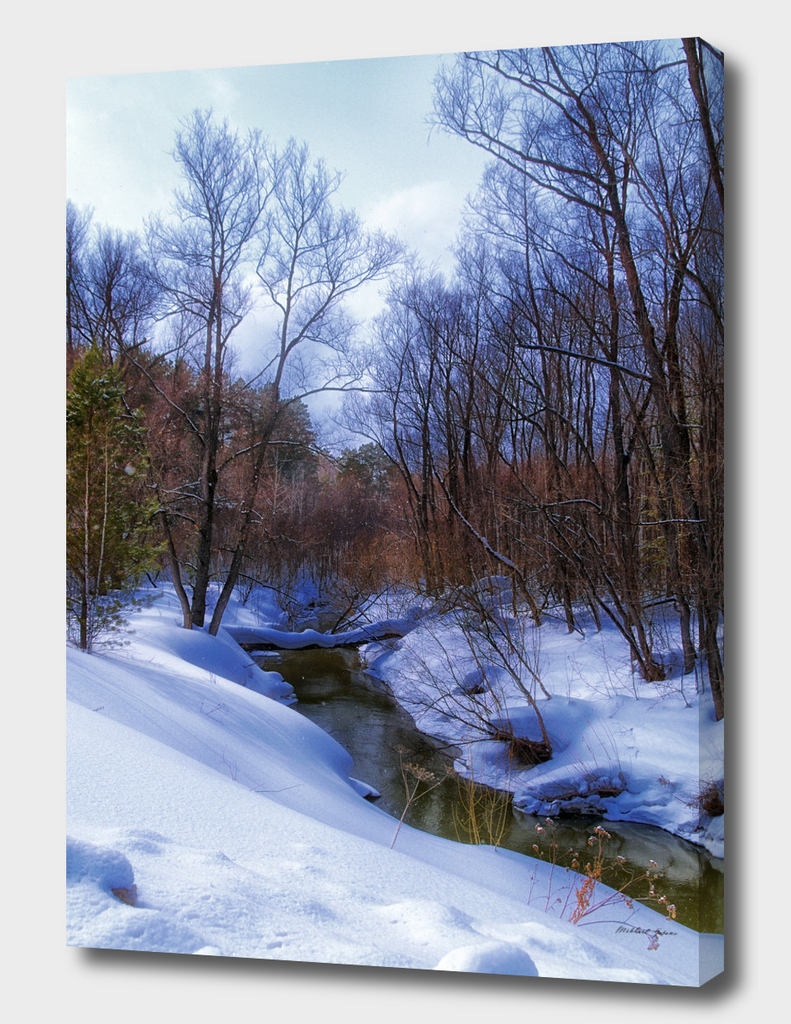 Sping. River. Snow