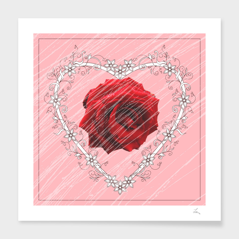 red rose into floral heart