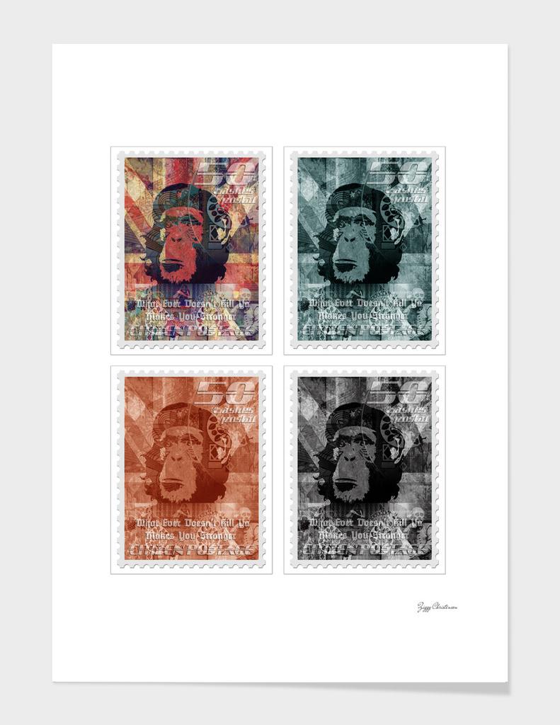 Chimp Stamp 4 peice