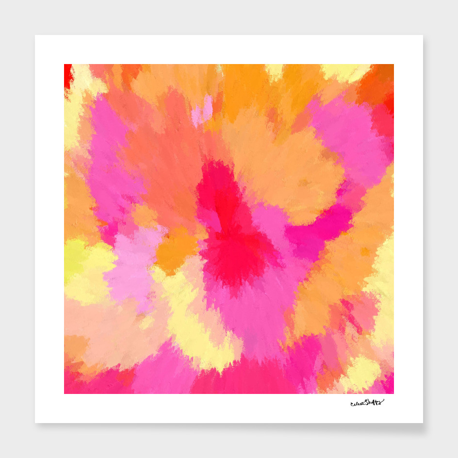 Pink, Orange and Yellow watercolors