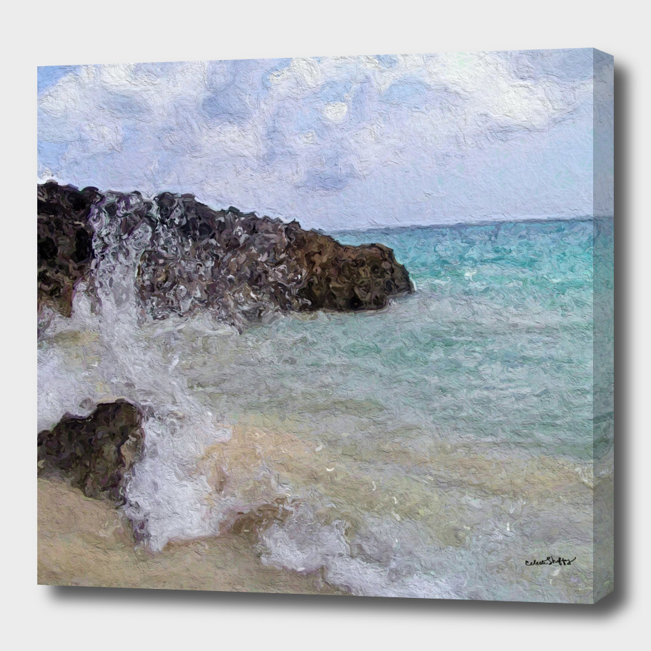 Beach wave against lava rocks