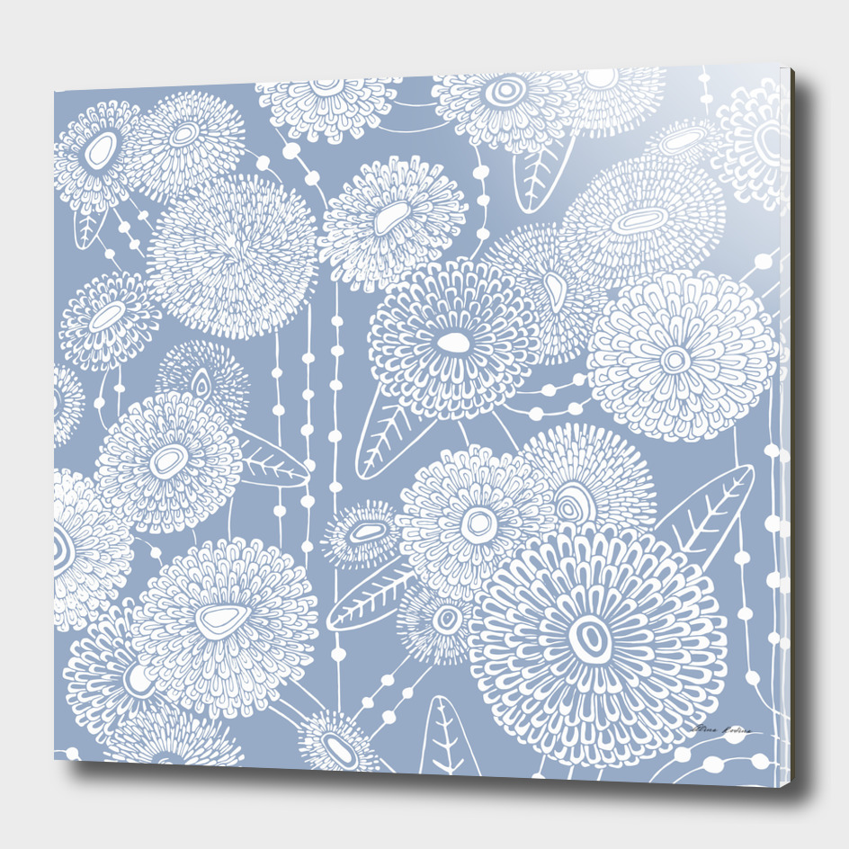 Asters rain in grey-blue color