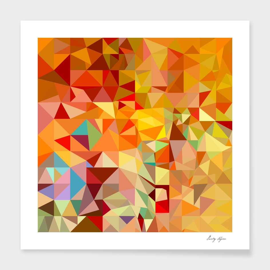 Orange-red polygonal mosaic background