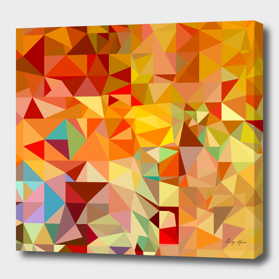 Orange-red polygonal mosaic background